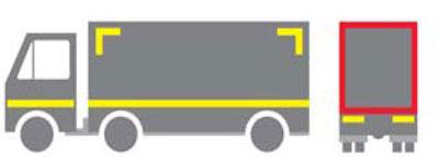 Linijsko obeležavanje-gornji uglovi moraju biti označeni sa dve linije pod uglom od 900, minimalne dužine 250mm.