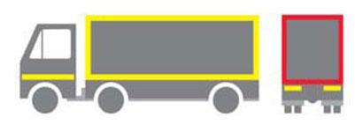Konturno obeležavanje-obavezno u slučaju kada se na vozilu nalazi reklama koja je retroreflektujuća